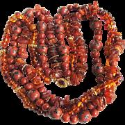 Vintage 18kt GP Raw & Reformed Amber/Terracota MOP & Agate Beads Torsade Necklace Certified Appraisal $1450