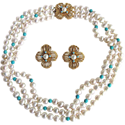 Upcycled Freshwater Cultured Pearls and Turquoise 3 Strand Necklace and Matching Earrings Certified Appraisal $685