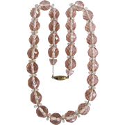 Antique Gem Quality Rose Quartz Crystal Strung on Chain Necklace Certified Appraisal $2175