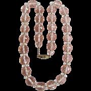Antique Gem Quality Rose Quartz Crystal Strung on Chain Necklace Certified Appraisal $2175