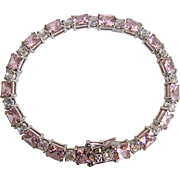 Vintage St. Silver Pink & White Cubic Zirconia Square & Round Facetted Gems Tennis Bracelet Certified Appraisal $1265