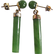 Vintage Nephrite Jade Cylinder Bead Pierced Earrings