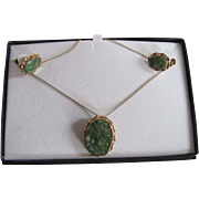 Mid Century 12K GF Moss Agate Cabochon A & Z Signed Matching Earrings and Pendant/brooch Necklace Certified Appraisal $485