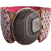 Antique Georgian Beaded Bracelet Garnets/Moonstone Banded Agate Cabochon Certified Appraisal $3500