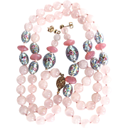 Mid Century Rose Quartz and Flower Foil Bead Earrings and Necklace Set Certified Appraisal $950