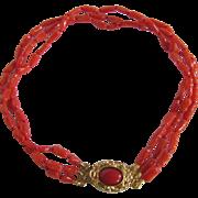 Vintage 18kt GP Enhanced Red Coral 3 strand Bracelet Certified Appraisal $895