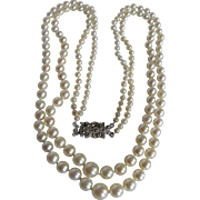 "Antique ""AA"" Fine Quality Cultured Akoya Pearl Double Graduated Strands Necklace Certified Appraisal $2925"