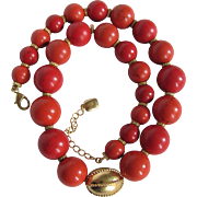 Vintage Signed Ralph Lauren Salmon Enhanced Coral Graduated 12-18mm Bead Necklace Certified Appraisal $2150
