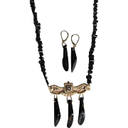 Antique 8kt Taille D'Epergne Plaquette with Natural Black Coral Earrings and Necklace Certified Appraisal $ 1885