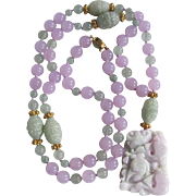 18kt GP Chinese Enhanced Lavender/Green/Icy Jadeite Hand Knotted Necklace Certified Appraisal $2800
