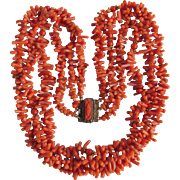 Antique Georgian GP Salmon Natural Branch Coral & Round 3 strand Necklace Certified Appraisal $2850