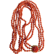 Antique 14kt GF Natural Mediterranean Salmon Coral 3 Strand Necklace Carved Rose Clasp /Certified Appraisal $2325