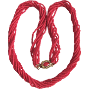Vintage 18kt GP Occupied Japan Natural Seed Bead Red Coral 10 strand Torsade Necklace with Certified Appraisal $1985