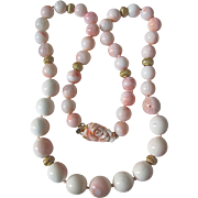 Vintage Appraised $3250 Carved Angel Skin Coral Clasp with Graduating 17-12mm Coral & CONCH PEARL Bead Necklace