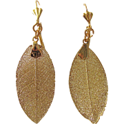 Vintage 22kt GP REAL Skeletonized Magnolia Leaf Drop GP French Clip Leverback Earrings
