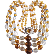 Vintage Rock Crystal/Bohemian Citrine Glass/ White Sapphires/ 3 strand Graduated Necklace Certified Appraisal $1100