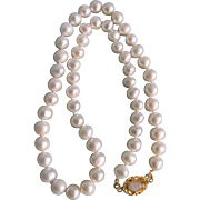 "Little Creations April Birthstone 18kt GP Colorless Moonstone Cabochon Clasp with 7.5mm Chinese Freshwater Cultured Pearls 17 1/2"" Necklace"