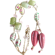 Vintage Carved Rhodocrosite and Carved Serpentine with Glass Flower/Rose Quartz Beads on Chain Necklace Certified Appraisal $875