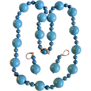 Vintage 14kt Stabilized Turquoise Large Scale 18mm Bead Necklace & Earrings Certified Appraisal $2570
