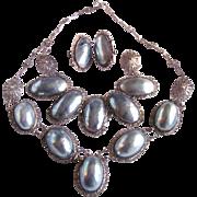 Victorian Silver Filagree Osmina Natural Blue Aragonite Nautilus Shell Mabe Parure Certified Appraisal $2750
