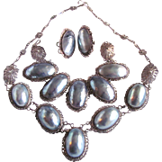 Victorian Silver Filagree Osmina Natural Blue Aragonite Nautilus Shell Mabe Parure Certified Appraisal $2750