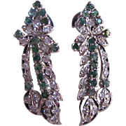 Vintage Natural Emerald & Lab Created Synthetic White Sapphire Floral Drop Pierced Earrings Certified Appraisal $885