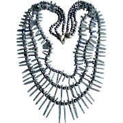 Vintage Appraised $1550 3 Strand Kyanite Pickets /Dyed Freshwater Pearls with Sterling Clasp Necklace