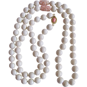 "Vintage 18kt GP 10mm White Coral and Angel Skin Carved Coral Opera 37"" Necklace Certified Appraisal $3800!!!"