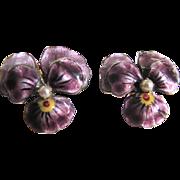 Vintage Natural Seed Pearl Scandinavian Signed APC Enamelled Pansy GP Adjustable Screwback Earrings