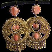 Antique Gilt Cannetille Carved Angelskin Coral Filagree Chandelier Pierced Earrings