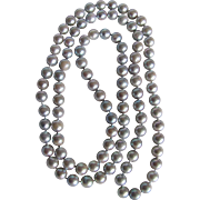 Vintage Japanese Cultured Enhanced Blue Akoya Pearl 8-8.5mm Eternity Strand Necklace  with Certified Appraisal $2600