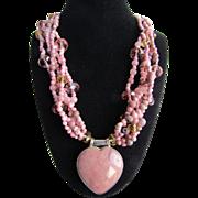 Vintage Silver Rhodochrosite, Agate, Rose Quartz, Citrine Torsade with Rhodochrosite Heart Pendant with Certified Appraisal $2550