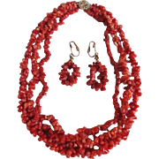 Victorian 14kt GP Natural Italian Sardinian Red Branch Coral 3 Strand Graduated Necklace/Matching Earrings with Certified Appraisal $1900