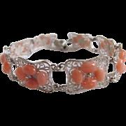 Vintage Sterling Silver Filagree Cannetille Link Bracelet with 48 Angel skin Coral Cabochons