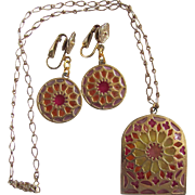 Vintage Mid Century Rose Window Resin Plique a Jour Pink / Orange/ Yellow  Pendant/Earring Set