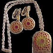 Vintage Mid Century Rose Window Resin Plique a Jour Pink / Orange/ Yellow  Pendant/Earring Set