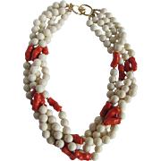 Vintage Mid Century Galalith Bead Torsade 4 Strand Faux Coral Necklace