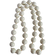 Vintage Mid Century Galalith HUGE Bead 17mm Faux Coral Necklace