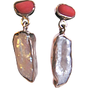 Vintage Sterling Silver Framed Cultured Biwa Freshwater and Deep Orange Coral Pierced Earrings