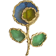 "Vintage Brutalist Sculpted Design - Poured Resin Plique a Jour GP Flower Brooch Signed ""Joy"""