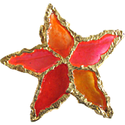 "Vintage Brutalist Sculpted Design - Poured Resin Plique a Jour GP Flower/Star Brooch Signed ""Joy"""