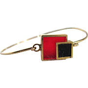 Mid Century Mondrian Cubism Inspired Red/Black Sheet Resin GP Wire Bracelet