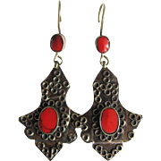 Mid Century Brutalist Hand made Silver and Red Coral Cabochon Pierced Earrings