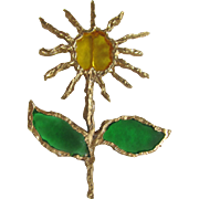 "Vintage Brutalist Sculpted Design Huge scale at 3 3/4"" - Poured Resin Plique a Jour GP SunFlower Brooch Signed ""Joy"""