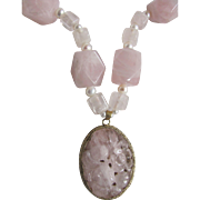 Vintage 18kt GP Carved Rose Quartz Pendant With Rose Quartz Freshwater Cultured Pearls Certified  Appraised $2150