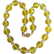 Vintage 18kt GP Citrine Treated Quartz and Mystic Topaz with Moonstone Cabochon Necklace Certified Appraisal $1560