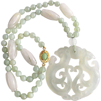 Vintage 18kt GP Carved White /Green Jadeite Beads and Pendant Certified Appraisal $2970