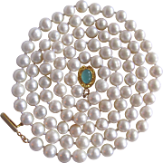 """Little Creations 18kt GP Chalcedony Cabochon Cultured Freshwater Pearls. 7mm Necklace 32"""""""