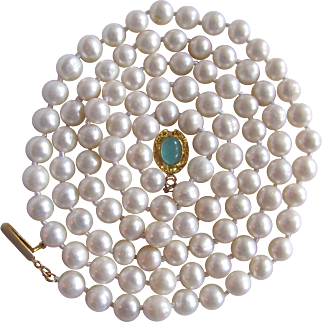"""Artisan 18kt GP Chalcedony Cabochon Cultured Freshwater Pearls. 7mm Necklace 32"""""""