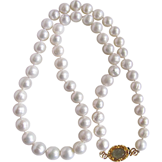 "Artisan 18kt GP Genuine Aquamarine Cabochon Cultured Freshwater Pearls. 7mm Necklace 17"""